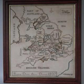 Antique Sampler, 1837 Map Sampler by Rachel Dixon