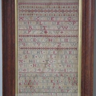 Antique Sampler, 1724 Silkwork Band Sampler by Ann Wooding
