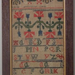 Antique Sampler, 1735 Band Sampler by Ann Pid