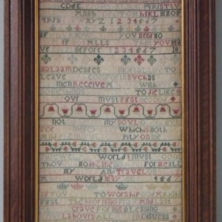Antique Sampler, 1740 Verse Sampler by Margaret Downing