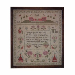Antique Sampler, 1843 Country Scene Sampler by Elizabeth Mattock