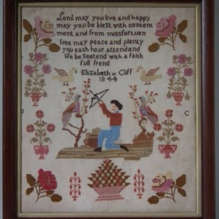 Antique Sampler, 1844, by Elizabeth Cliff