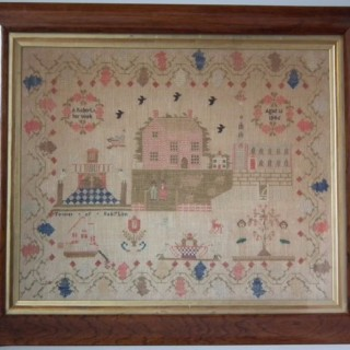 Antique Sampler, 1846, by A Roberts - Country Scene