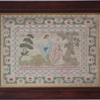 Antique Sampler, 1786, by Elizabeth Ross. Biblical Scene