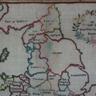 Antique Sampler, c.1790 Map Sampler by Mary Oxenford