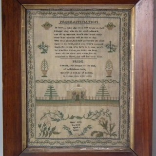 Antique Sampler, c.1830 'PROCRASTINATION' Sampler by Mary Anna Farnham