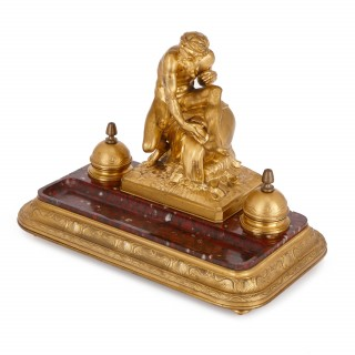 Antique red marble and gilt bronze inkstand by Barbedienne after Caffieri