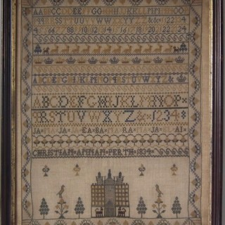Antique Scottish Sampler, 1834, by Christian Annan of Perth