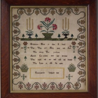 Antique Silkwork Sampler, 1808, by Elizabeth Witham
