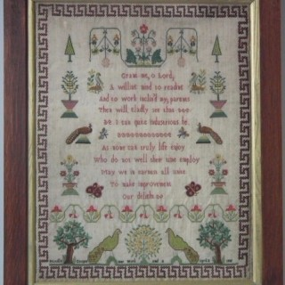 Antique Sampler, 1805 Peacock Sampler by Priscilla Cooper
