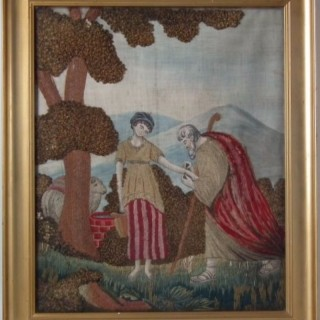 Embroidered Silkwork Picture of Judar and Tamar