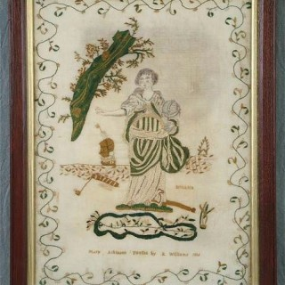 Antique Sampler, 1816 Silkwork 'Britania' Sampler by Mary Atkinson