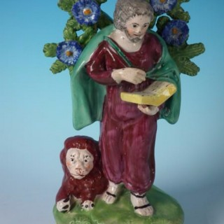Hall Staffordshire Pottery Pearlware St. Mark bocage figure