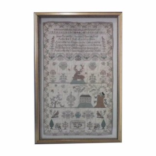 Antique Sampler, 1823 House Sampler by Elizabeth Woolvin