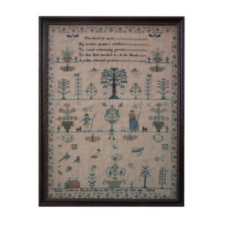Antique Sampler, 1824 Adam & Eve Sampler by Eliza Cookson