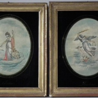 Pair Georgian Embroidered Pictures, Justice & Prudence