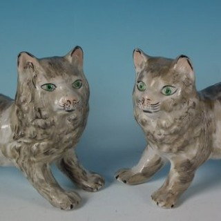 Pair Kent Staffordshire Cats