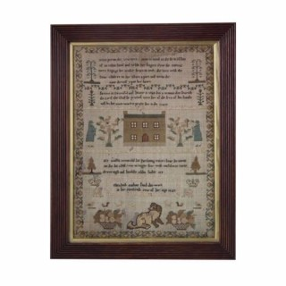 Antique Sampler, 1827 Silkwork Verse Sampler by Elizabeth Anthony