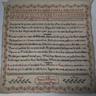 Antique Sampler, 1827, by Susanna Forster (Unframed)