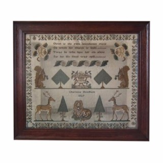 Antique Sampler, 1829 Memorial Sampler by Charlotte Needham