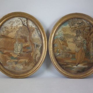 Pair of Georgian Antique Silkwork Embroideries