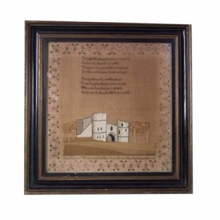 Antique Sampler, 1830 Castle Sampler Jane Carter
