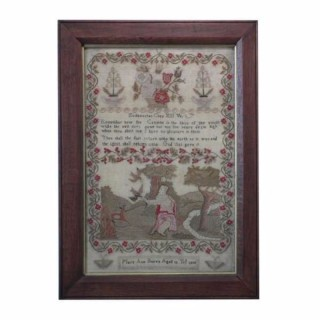 Antique Sampler, 1830 Religious Sampler by Mary Ann Burva