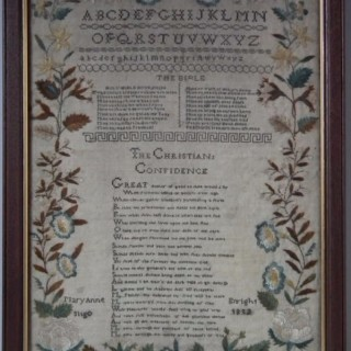 Antique Sampler, 1832 Religious Irish Sampler by Mary Anne Enright