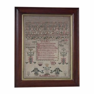 Antique Sampler, 1832 Verse Sampler by Jane C H Bowlby