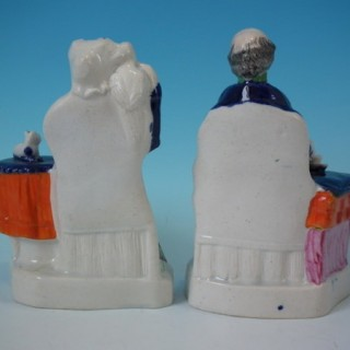 Pair Staffordshire Old Bachelor & Old Maid figures