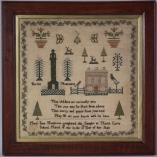 Antique Sampler, 1836 North Curry School Sampler by Mary Jane Hembrow