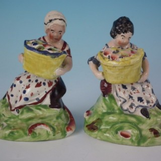 Pair Staffordshire Pearlware fruit pickers