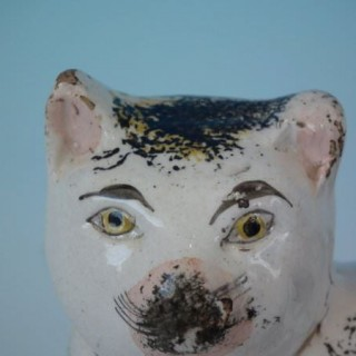 Staffordshire pottery cat figure