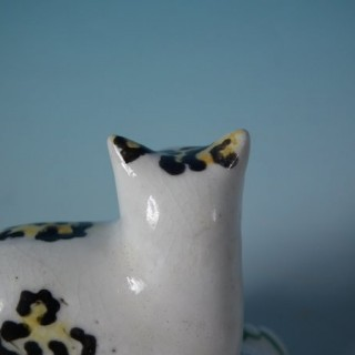 Staffordshire Pottery Cat on Cushion