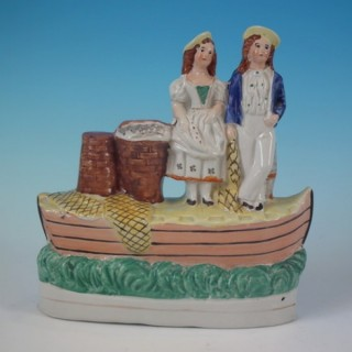 Staffordshire fishing boat figure group