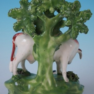Staffordshire Pearlware Cow & Calf bocage figure group