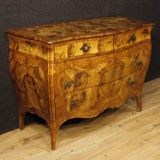 Italian Commode In Walnut And Burl Wood