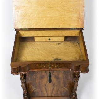 Antique Victorian Burr Walnut & Inlaid Davenport Desk 19th C