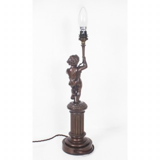 Antique French Patinated Bronze Cherub Table Lamp C1920