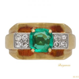 Chaumet emerald and diamond dress ring, French, circa 1940.