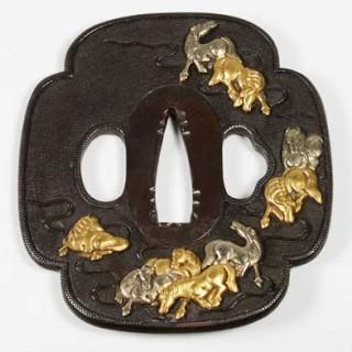 LOVELY JAPANESE EDO PERIOD SHAKUDO MOKKO FORM TSUBA - ONLAID HORSES