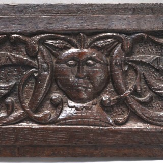 16th century oak panel with monsters