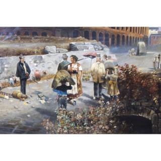 Antique Oil Painting François Gérard 1770 - 1837 of The Colosseum Circa 1820