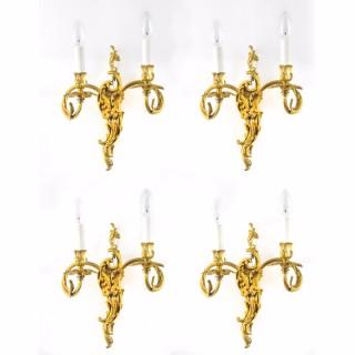 Antique Set 4 Gilded Bronze Rococo Ormolu Wall Lights 20th C