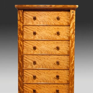 Early Victorian satinwood Wellington Chest