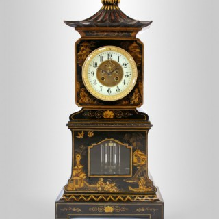 Black lacquer Chinoiserie Pagoda Mantel Clock