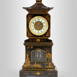 Black lacquer Chinoiserie Pagoda Mantel Clock