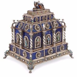 Antique Viennese silver mounted and enamelled lapis lazuli casket by Hermann Bohm