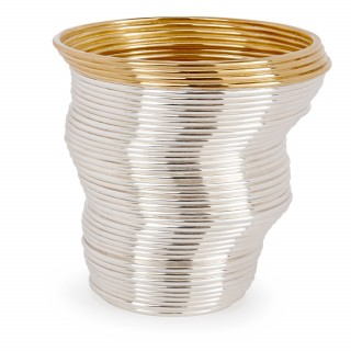 Two contemporary silver gilt and sterling silver coiled Slinky beakers by Nan Nan Liu