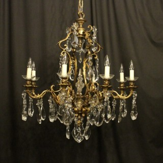 French Gilded 8 Light Antique Chandelier
